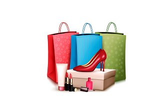 Red shoes and cosmetics. Vector
