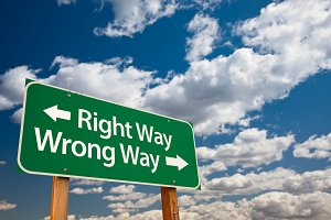 Right Way, Wrong Way Green Road Sign