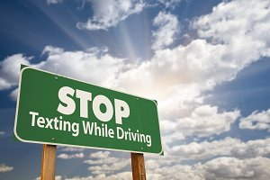 Stop Texting While Driving Road Sign
