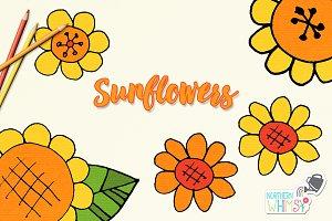 Flower Illustrations - Sunflowers