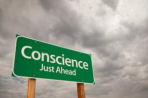 Conscience Green Road Sign in Storm