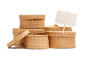 Wicker Baskets with Blank Sign