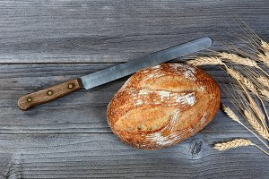 loaf of bread with Knife