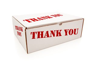 White Box with Thank You on Sides