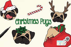 Christmas Pug Illustrations