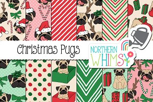 Christmas Pug Dog Patterns