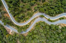 Picturesque lonely road from a drone