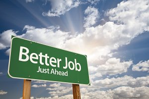 Better Job Green Road Sign on Clouds