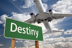 Destiny Green Road Sign and Airplane