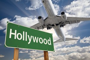 Hollywood Road Sign and Airplane