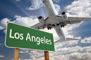 Los Angeles Road Sign and Airplane