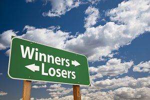 Winners, Losers Green Road Sign