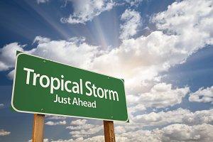 Tropical Storm Green Road Sign