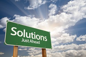 Solutions Green Road Sign Over Cloud