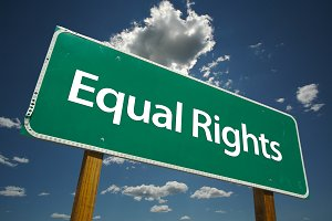 Equal Rights Green Road Sign
