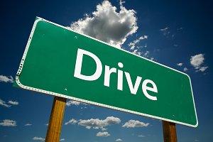 Drive Green Road Sign