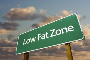 Low Fat Zone Green Road Sign