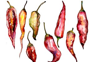 Red pepper vegetables PNG watercolor