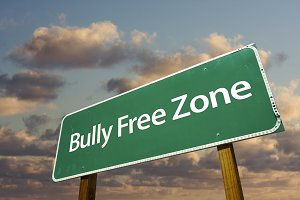 Bully Free Zone Green Road Sign and