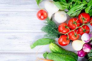 lot of fresh summer seasonal vegetab
