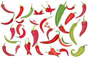 30 Chili Pepper Vector Icons