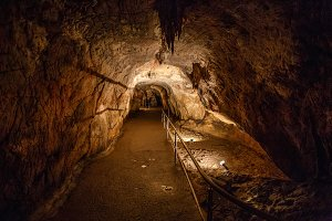 Lighted footpath in cave
