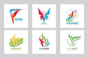 Abstract Human Vector Logo Set