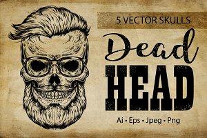 Vintage hipster skull.