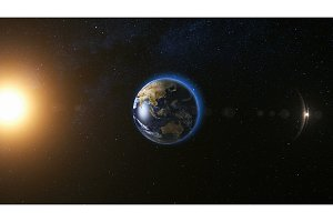 Space view on Planet Earth and Sun