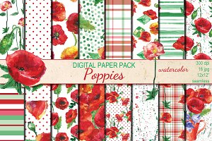 Watercolor Poppies patterns