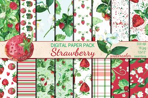 Watercolor Strawberry patterns