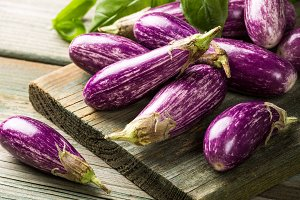 Heap of small eggplant or aubergine