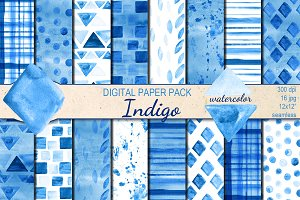 Watercolor Indigo patterns