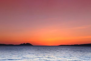 Cies Islands at sunset