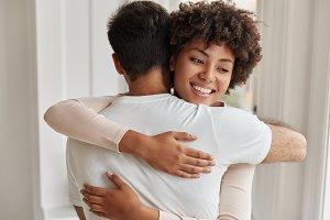Sweet hug concept. Friendly mixed ra