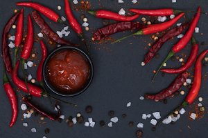 Hot chilli sauce paste with fresh an