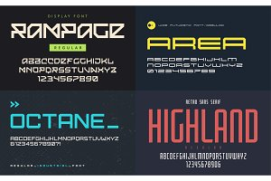 Set of display fonts, typefaces