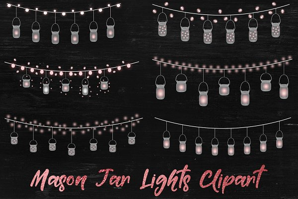 Lantern Clipart, Mason Jar Lights