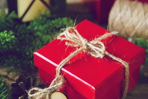 Red Christmas present box with snow