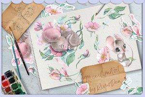 Cute watercolor Mouse clipart set