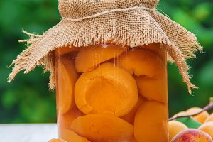 Preserved home-made apricots in jars