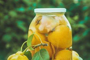 Preserved house pears in jars. Selec