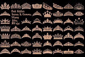 Pink Glitter Tiaras & Crowns