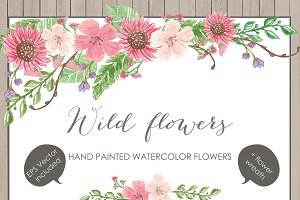 Vector Watercolor Wild flower clipar
