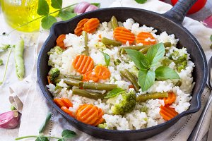 Healthy food: Fried rice with vegeta