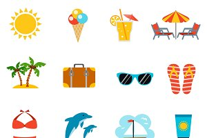 Summer and vacations icons set