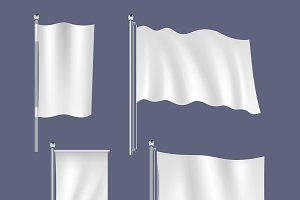 Realistic white flags set