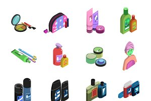Body care Isometric Icon Set