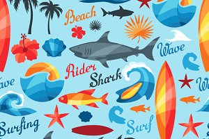 Seamless patterns with surfing.