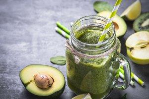 Healthy green smoothie in mason jar